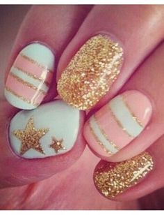 striped pastel nails with glitter