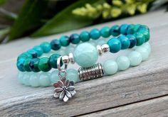 Pulseras de piedras preciosas amazonita perlas