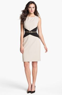 Calvin Klein Belted Colorblock Sheath Dress | have something nearly identical... ditch the neutral belt & add some color!
