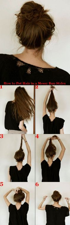 How to Put Hair in a Messy Bun Styles....... I suck at doing messy buns so I hope this works