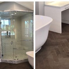 #simplyelegant #masterbath featuring a #handmade pillowed subway tile from #fluxstudios on the wall framed with a Calcutta marble slab to finish the edges. Shower pan is a Calacutta #hexagon and the floor is a limestone set in a #herringbone pattern. #manhattanbeach #customhome #coastalliving #bathroomideas #interiordesign #design #zivecandcorbbettdevelopment #lesperancedesign #southbay #tilelove #tiletuesday #classictiledesign by classictyl Bathroom designs.
