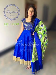 Long Dress Design, Dress Neck Designs, Blouse Designs, Long Gown Dress, Frock Dress, Sari Dress, Full Gown, Kalamkari Dresses, Ikkat Dresses