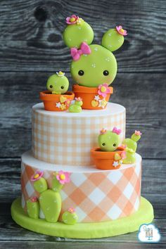 Cactus cake 3 tier layer pastel pink and green plaid check cake design, cute kawaii decorating style Would be adorable for a baby shower or birthday Pretty Cakes, Cute Cakes, Beautiful Cakes, Amazing Cakes, Baby Cakes, Pink Cakes, Super Torte, Cactus Cake, Novelty Cakes