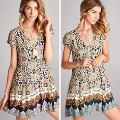 Laura Sweet Boho Dress - Description: SELF 100% RAYONLINING 100% RAYONPRINTED…