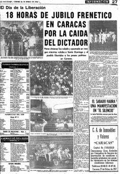 Caída de Pérez Jiménez. Publicado el 24 de enero de 1958.
