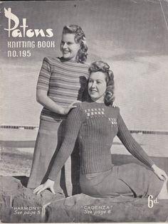 Vintage 1940s  Paton's Knitting Pattern No 195  by jennylouvintage