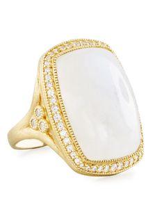Jude Frances 18K Sonoma Long Moonstone Cushion Ring, Size 6.5