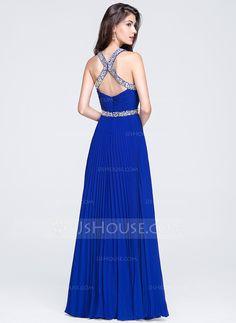 A-Line/Princess Sweetheart Floor-Length Chiffon Prom Dress With Ruffle Beading Sequins Pleated (018070357) - JJsHouse