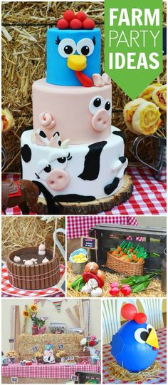 this farm party a great idea for a toddler birthday? See more party ideas at ! Farm Animal Party, Farm Animal Birthday, Farm Birthday, 3rd Birthday Parties, Birthday Ideas, November Birthday Party, Toddler Birthday Themes, Birthday Cupcakes, Farm Themed Party