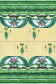 Art Nouveau Majolica tiles:  Ahhh!!!  Want this in my bathroom!!!!