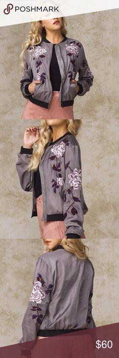 Bomber jacket Floral Embroidery jacket Jackets & Coats