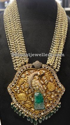 Multistring Pearls Mala with Peacock Polki pendant - Indian Jewellery Designs Indian Wedding Jewelry, Indian Jewelry, Bridal Jewelry, Beaded Jewelry, Pearl Jewelry, Antique Jewellery Designs, Gold Jewellery Design, Diamond Jewellery, Silver Jewellery