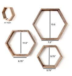diy home decor - Rustic Hexagon Wood Shelves (Set of Honeycomb Shelves Geometric Shelves Wood Shelf 100 Percent Reclaimed Wood, Weathered Gray Geometric Shelves, Honeycomb Shelves, Hexagon Shelves, Decorative Shelves, Geometric Decor, Cheap Home Decor, Diy Home Decor, Led Wand, Deco Originale