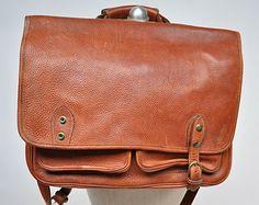 vintage leather bag satchel briefcase tote leather laptop messenger bag
