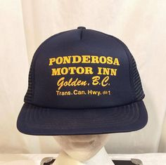 Ponderosa Motor Inn Golden BC Canada Transcanada Highway Distressed Baseball Truckers Cap Hat SnapBack by LouisandRileys on Etsy