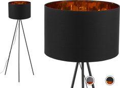 Tris Tripod Floor Lamp, Matt Black and Copper Lamp Design, Lighting Design, Tripod Lampe, Room Lights, Ceiling Lights, Free Standing Lamps, Navy And Copper, Contemporary Floor Lamps, Living Room Lighting