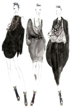 myrtle quillamor fashion & style drawings - black, grey, neutral colours - apparel & accessories
