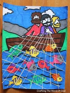 Miraculous Catch Of Fish. could pre-k do a craft like this and lace yarn/string through cardstock to make a net after they color in a boat/fish?