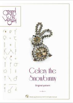 *P Celery the snowbunny with Swarovski  PDF by beadsbyvezsuzsi