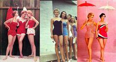 Menteflutuante Retrô: Os Anos 50 e a Efervescência Adolescente ROUPAS DE BANHO As roupas de banho passaram a ser mais leves devido o nylon e os maiôs estavam ficando cada vez mais populares. Alguns modelos tinham uma espécie de saia por cima e era ótimo para esconder as imperfeições.