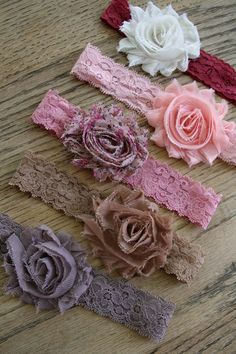 Vintage Lace Headband Set - Baby girl / newborn Headband - Shabby Chic Flower headband  - Photo Prop