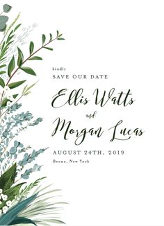This save the date features sprigs of greenery