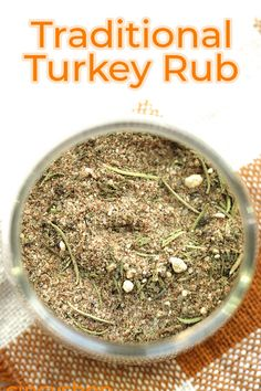 Add incredible flavor to your Thanksgiving Tukey with this Traditional Turkey Rub. We combine sage, rosemary, thyme, and a few other simple spices to make the bird super tasty. Your family will love it. Turkey Seasoning, Poultry Seasoning, Seasoning Mixes, Homemade Spices, Homemade Seasonings, Spice Rub, Spice Mixes, Baked Chicken Recipes, Turkey Recipes