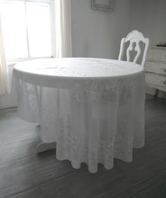 Sheer Look VINTAGE Cloth Lace Look Tablecloth Shabby Chic Wedding Decor  Table Linens French Country White Tablecloth Country Chic Oval Cloth