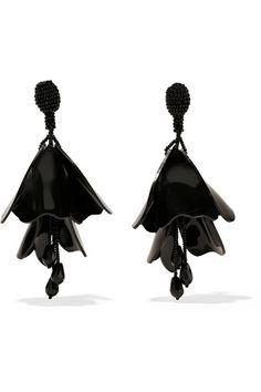 Oscar de la Renta | Impatiens resin clip earrings | NET-A-PORTER.COM