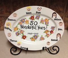 Anniversary Plate for Grandparents. Hand painted, ceramic oval platter. Custom painted.  www.TheTracyMurphy.etsy.com