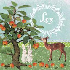 Geboortekaartje Lex - retro vintage collage kaartje met hertje  appleboom en konijntjes - www.petitkonijn.nl