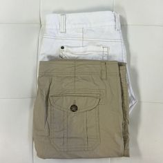 """(2pc) SO CAPRI /UNION BAY SHORTS Pre-Made Bundle Just a easy way for you to get the most bang for you buck.  Ask all your questions and then let's gets these beautiful shorts home to you.   Bundle includes: UNIONBAY white shorts (15) front seem 10"""", SO Khaki Cargos Capri Pants (15) inseam 20"""" Other"""