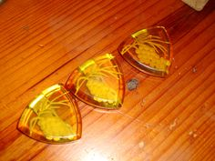 3 Superb, Rare APPLE JUICE BAKELITE Reverse Carved Large Vintage Dress Clips/Brooches W/Beveled Edges - Art Deco by THEUNITGAL on Etsy https://www.etsy.com/listing/122075742/3-superb-rare-apple-juice-bakelite
