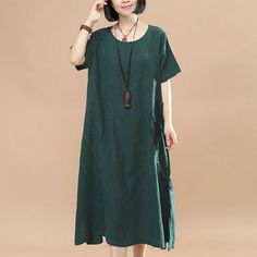 Jacquard Short Sleeve Women Casual Green Dress