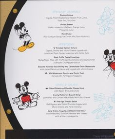 Disney Dream cruise ship - Pictures of Kid & Adult Menus from Royal Palace, Enchanted Garden, Animator's Palate, Pirate Night