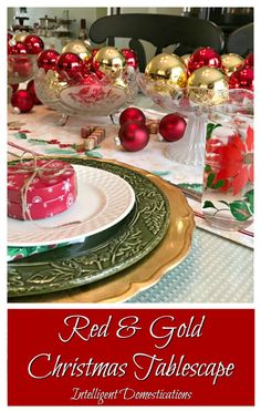 Home Interior Vintage red-gold-christmas-tablescape-get-all-the-details-at-intelligentdomestications-com.Home Interior Vintage red-gold-christmas-tablescape-get-all-the-details-at-intelligentdomestications-com Christmas Tablescapes, Christmas Decorations, Table Decorations, Table Centerpieces, Gold Christmas, Christmas Crafts, Christmas Balls, Decor Logo, Luxury Decor