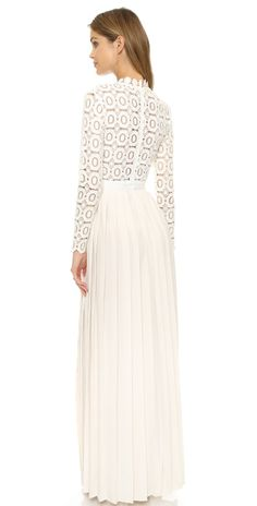 Self Portrait Pleated Crochet Maxi Dress | 15% off first app purchase with code: 15FORYOU