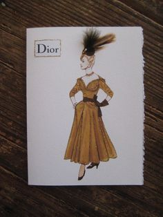 "Christian Dior 1947 fashion illustration ""New Look Cocktail Dress"""