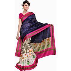 Buy Go Desi Blue Bhagalpuri Silk Saree by Go Desi, on Paytm, Price: Rs.370?utm_medium=pintrest