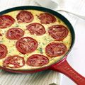 Crustless pizza. ricotta cheese & tomato. Not quite grain free, it has cornstarch to thicken it up.  I wonder how adding pepperoni or such would work?