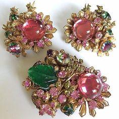 Rare Vintage Miriam Haskell Frank Hess Brooch Pin (Horseshoe Mark)& Earrings Set