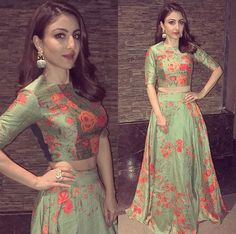 Yay or Nay . Soha Ali Khan in Saakshi Kinni Outfit for an event ❤❤❤ . Outfit ~ Accessories ~ Styled by ~ . Pakistani Dresses, Indian Dresses, Indian Outfits, Indian Attire, Indian Wear, Ethnic Fashion, Indian Fashion, Look Short, Lehnga Dress
