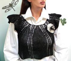 Crochet Black Vest  Romantic lace sleeveless sweater / tank