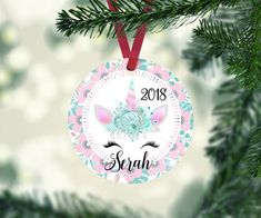 fc5463485b Unicorn Christmas Ornament Personalized Christmas Tree Baby Girl Ornament  Baby s First Christmas