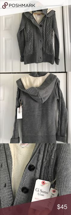 NWT cable knit sweater with faux fur lining Gray hooded cable knit sweater. Pockets, Zipper and chunky buttons. NWT none Sweaters