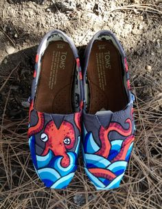 Women's Octopus and waves handpainted Tom Shoes by InSensDen, $89.00 -wanttt