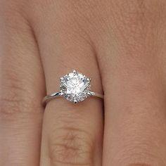 2 Ct Round Cut Diamond Engagement Ring SI1/D 18K White Gold Enhanced