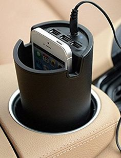 Amazon.com: Sentey LS-2240 Car Cup Charger with 3 USB Ports and Holder Bundle with Protection Pouch - Black: Cell Phones & Accessories