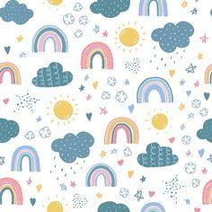 Happy Wallpaper, Emoji Wallpaper, Kids Wallpaper, Cute Pattern, Pattern Art, Pattern Design, Pastel Background, Background Patterns, Rainbow Cartoon