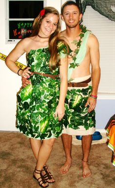 Adam and Eve Halloween costume: made with a green sheet cut into a dress, hot-glued plastic leaves, and accessorized! Boy's: cut one end of a pillow case, and do the same.